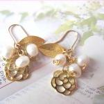 O&#039; My Pearly Garden Earrings - 14K gold-plated, gold plated Leaf &amp; Rose Charms, Fresh water pearls