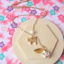 Kitty Loves Rose Lariat Necklace - 14K gold, Cat, Shell Pearl, Leaf & Rose
