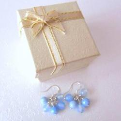 My Fair Lady Earrings - Faceted Blue Agate, 925 Silver